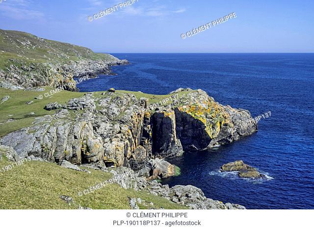 Rugged coastline at Lunna Ness, Mainland, Shetland Islands, Scotland, UK