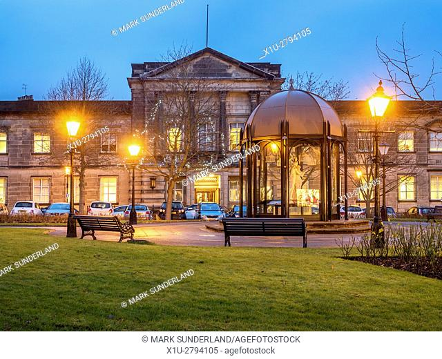 Crescent Gardens and Harrogate Borough Council Building at Dusk at Christmas Harrogate North Yorkshire England