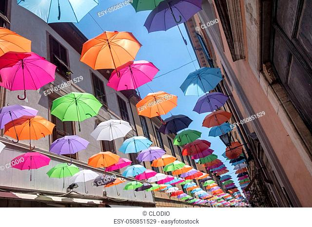Pietrasanta, Lucca, Tuscany, Italy: the main street of the city with colorful umbrellas