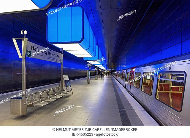 Modern metro station with changing play of colors, Hamburg, Germany