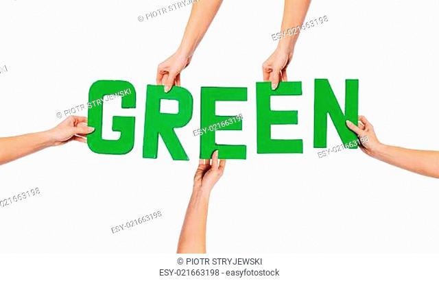 Green alphabet lettering spelling GREEN