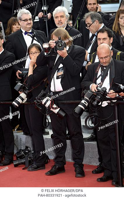 Photographers taking pictures during the 69th Annual Cannes Film Festival at Palais des Festivals in Cannes, France, on 12. May 2016