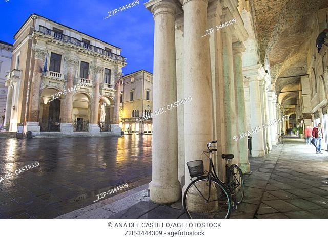 Vicenza Veneto Italy by night on November 22, 2019 Piazza dei Signori with the Basilica Palladiana