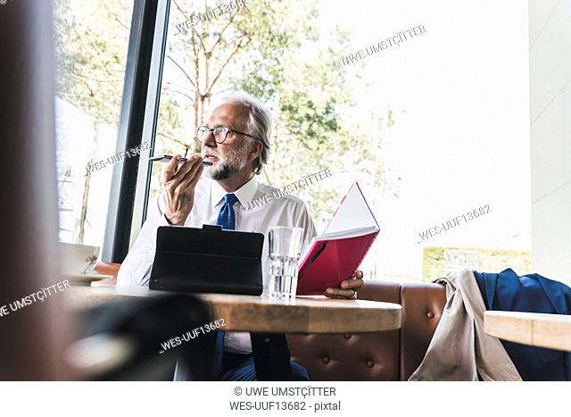 Mature businessman working at table in a cafe