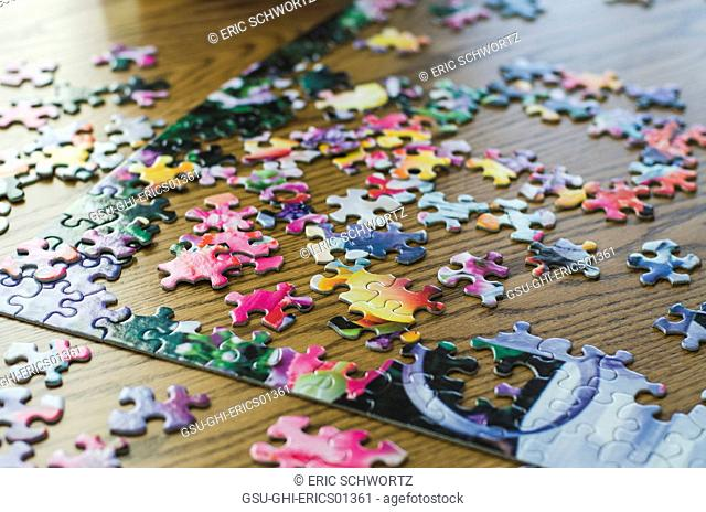 Jigsaw Puzzle and Pieces in Progress