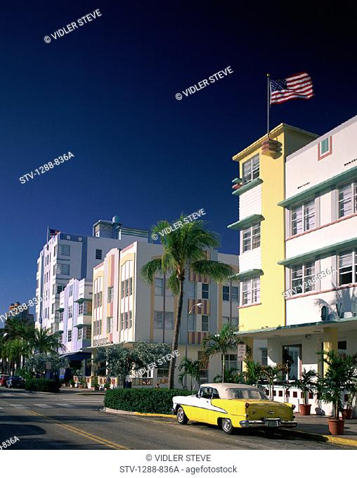 America, Art deco, Car, Flag, Florida, Holiday, Hotels, Landmark, Miami, Miami beach, Ocean drive, Road, Street, Tourism, Travel