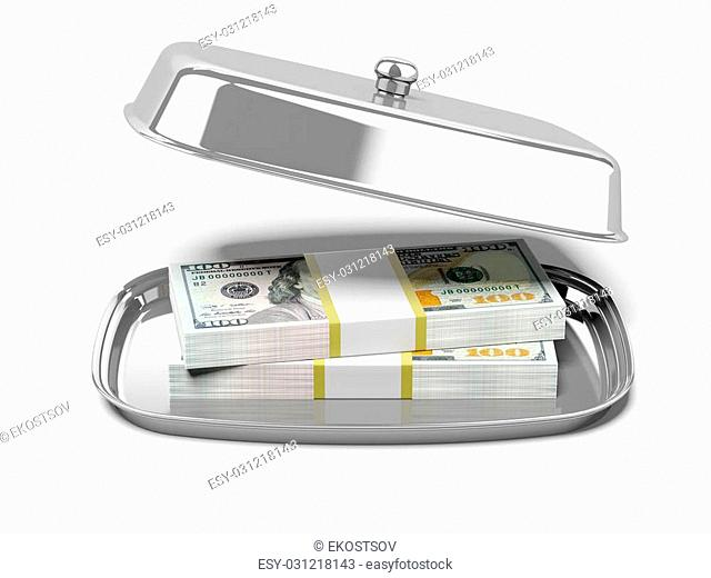 Restaurant cloche with dollars isolated on a white background. 3d render