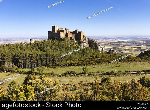 Loarre castle, near Loarre, Huesca Province, Aragon, Spain. The Romanesque castle is amongst Spainâ. . s oldest, dating mostly from the 11th and 12th centuries
