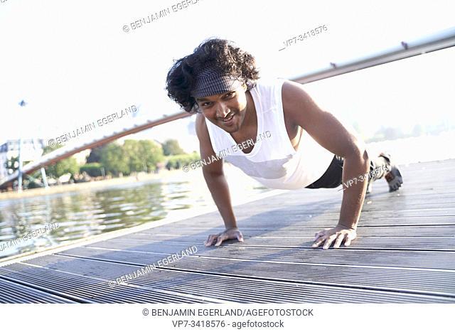 Indian man doing push-ups