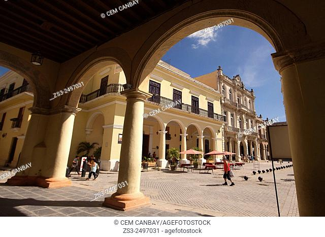 Framed view to the Plaza Vieja square, Havana, Cuba, West Indies, Central America