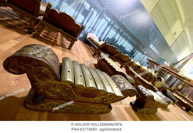 An Indonesian Gamelan ensemble is on display along with some 3,500 exhibits of the new permanent exhibition entitled 'Menschenwelten' (lit