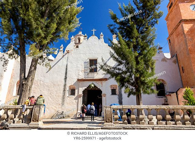 Pilgrims enter the Casa de Ejercicios at the Sanctuary of Atotonilco an important Catholic shrine in Atotonilco, Mexico
