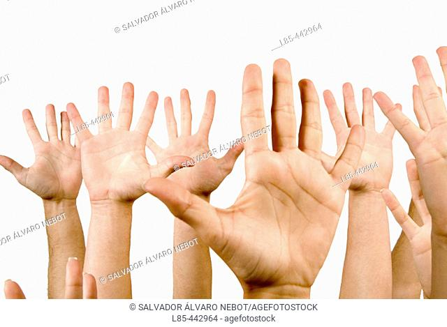Open hands with palms outward