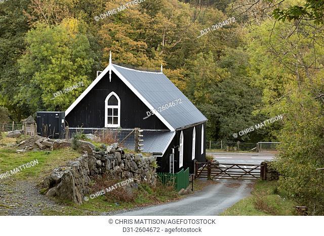 Pre-fabricated corrugated tin building, near Dolgellau, Snowdonia National Park, North Wales