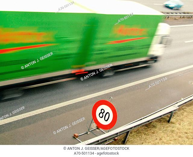 Temporary speed limit sign in freeway. Switzerland