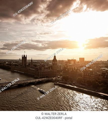Aerial view of Westminster in London