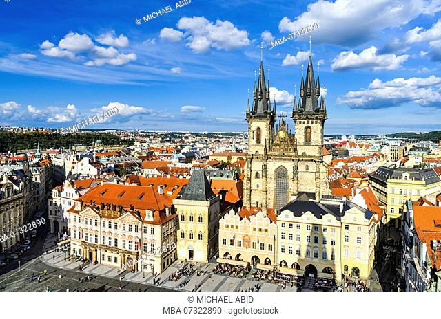 Old Town Square in Prague, Czech Republic on a sunny day