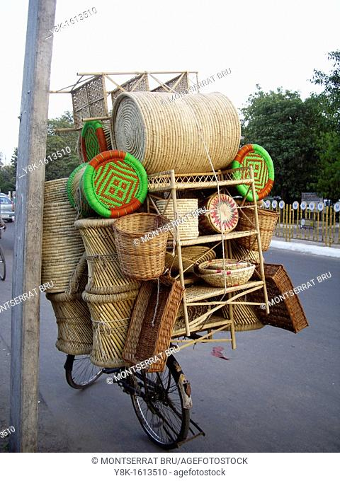 Basketwork shop on cycle in Defence Colony, New Delhi, India