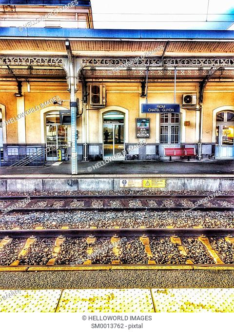 Platforms and tracks at Riom Chatel Guyon train station, Auvergne, France, Europe