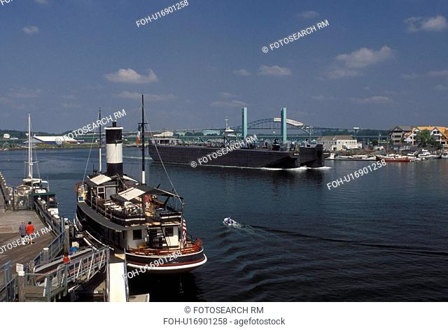 Portsmouth, NH, New Hampshire, Large barge cruises along the Piscataqua River in Portsmouth
