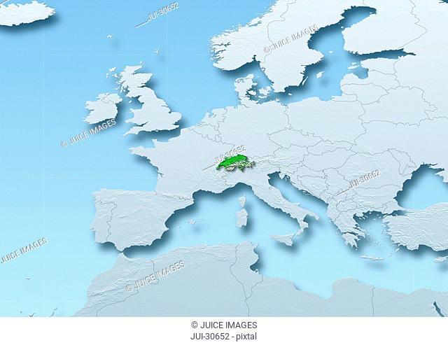 Switzerland surface, map, Western Europe, grey, blue, physical, political