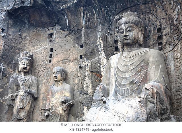 Vairocana Buddha, Fengxian Temple, Longmen Grottoes and Caves, Luoyang, Henan Province, China  Tang Dynasty