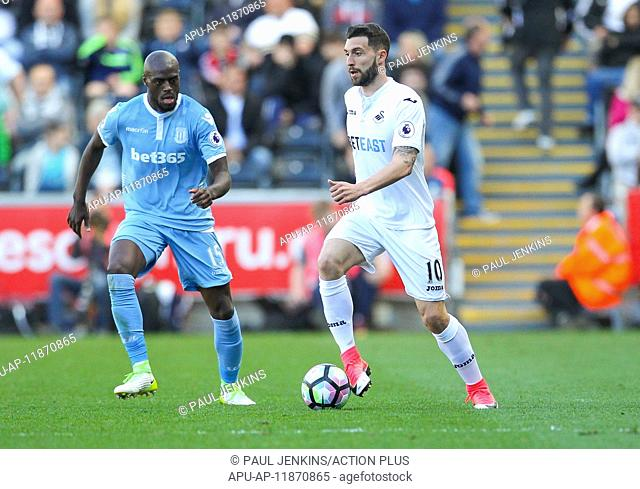 2017 Premier League football Swansea v Stoke Apr 22nd. April 22nd 2017, Liberty Stadium, Swansea, Wales; EPL Premier League football