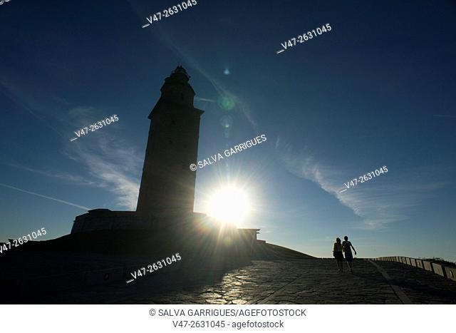 The Tower of Hercules, the only Roman lighthouse and the oldest in operation in the world, La Coruna, Galicia, Spain, Europe
