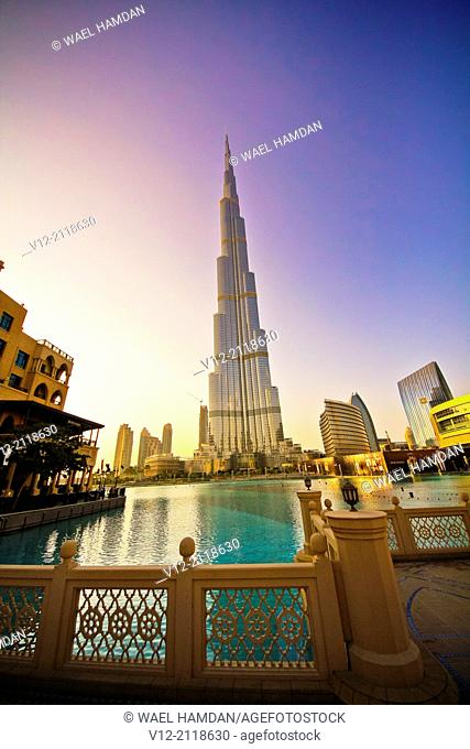 Burj Khalifa, Burj Dubai, the tallest building in the world in downtown Dubai
