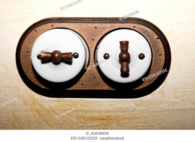 Ancient style double light switch made of porcelain and wood