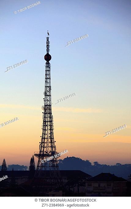 Vietnam, Dalat, Xuan Huong Lake, telecommunications tower, antennas