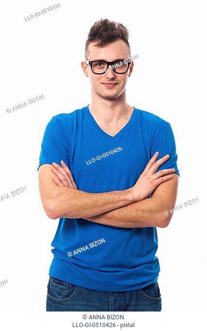 Portrait of fashionable male hipster. Debica, Poland