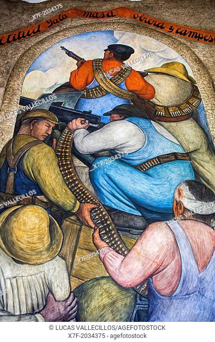 In the trench by Diego Rivera, at SEP (Secretaria de Educacion Publica), Secretariat of Public Education, Mexico City, Mexico