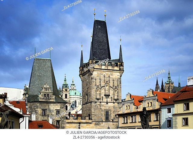 Czech Republic, Prague, historic centre listed as World Heritage by UNESCO, the Gothic tower at the entrance of the bridge on the side of Mala Strana district...