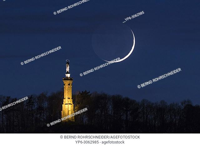 St. Maryâ. . s column and moon at night, Trier, Rhineland-Palatinate, Germany
