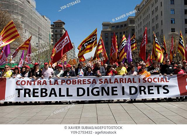 Demonstration May first, Barcelona, Catalonia, Spain