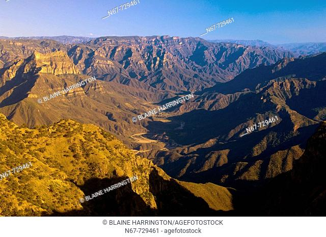 Urique Canyon, the deepest canyon in the Sierra Tarahumara at 6,200 feet, is one of six distinct canyons that make up the Copper Canyon Barranca del Cobre