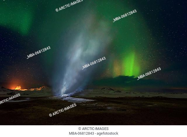 Geothermal area and Aurora Borealis or Northern Lights, Iceland