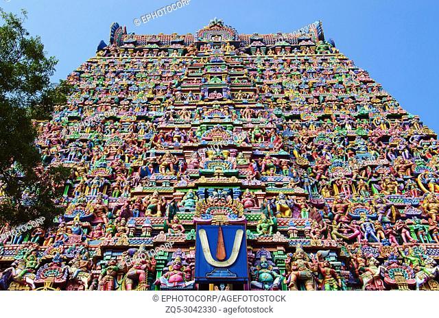 Colorful carved Gopuram, Near Gangaikonda Cholapuram, Tamil Nadu, India