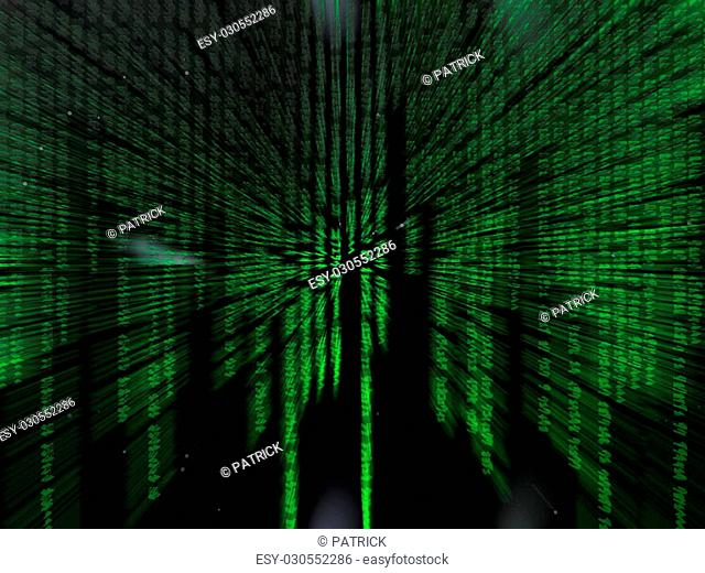 Binary code, the internet, data transfer, a free interpretation