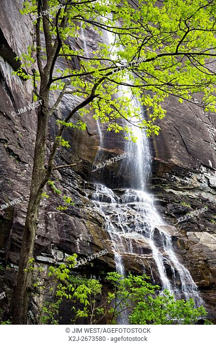 Chimney Rock, North Carolina - Hickory Nut Falls, a 404-foot waterfall in Chimney Rock State Park
