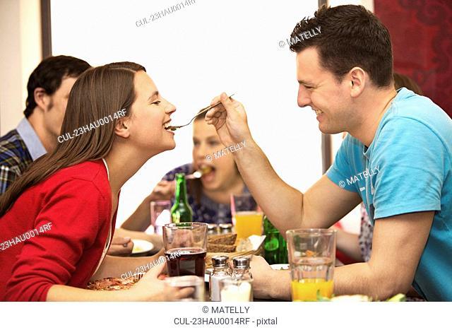 Friends in restaurant