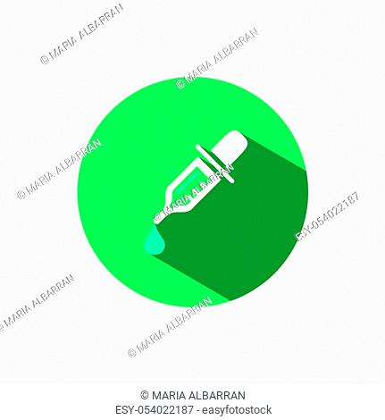 Dropper pipette icon with shadow on a green circle. Flat color vector pharmacy illustration