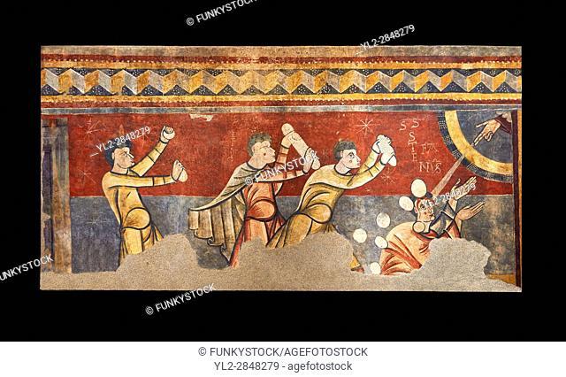The Stoning of St. Stephen. . Circa 1100s. . Fresco Transfer to canvas. . From the Church of Saint Joan Boi, Val de Boi, High Ribagorca, Pyranese, Spain