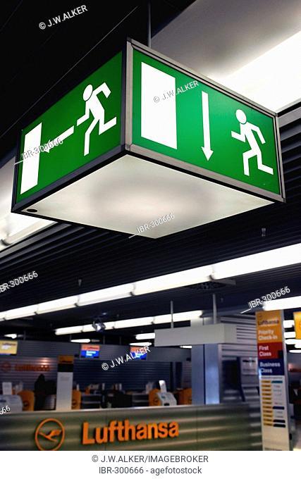 Sign EMERGENCY EXIT, Frankfurt airport, Frankfurt, Hesse, Germany