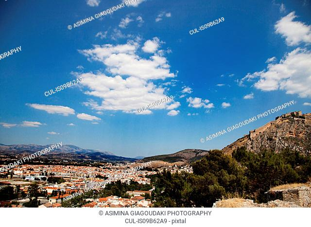 Elevated view of valley cityscape and Palamidi Fortress, Nafplio, Greece