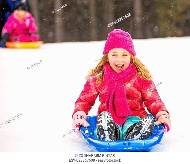 Sledding Girl - Expressing Joy