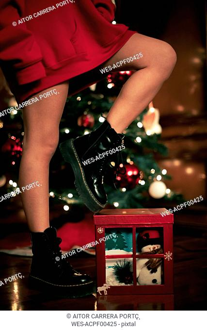 Legs of teenage girl with Christmas present
