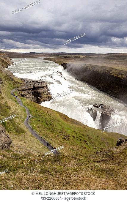 Gullfoss Waterfall and Gullfoss Gorge, on the Hvita River, Southwest Iceland