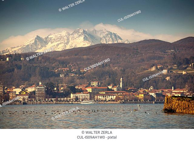Arona and Mount Rosa beyond Lake Maggiore, Italy